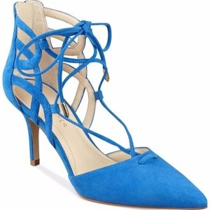 NWOB Marc Fisher Truthe Pointy Toe Suede Blue Heel